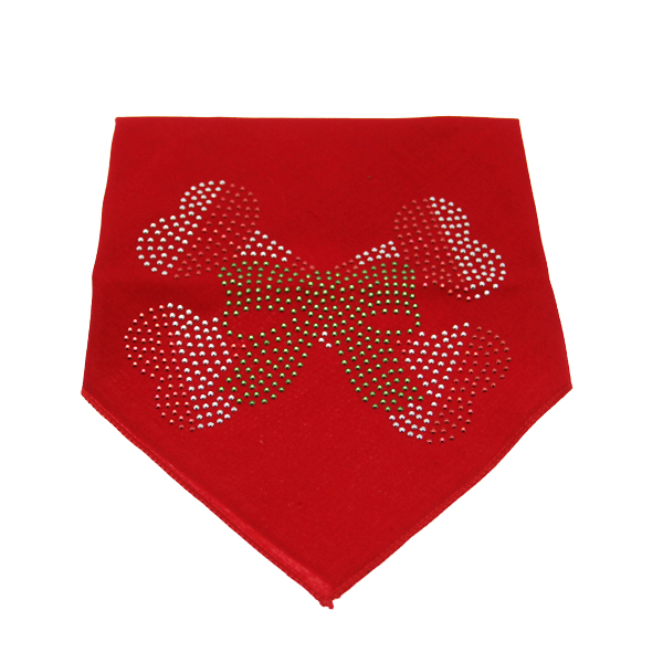Candy Cane Crossbones Rhinestone Dog Bandana - Red