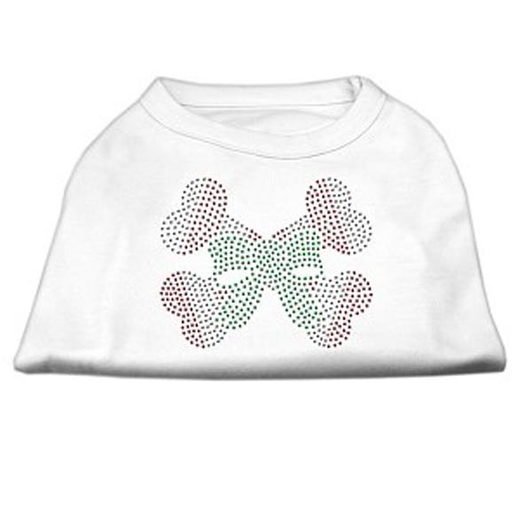 Candy Cane Crossbones Rhinestone Dog Shirt - White
