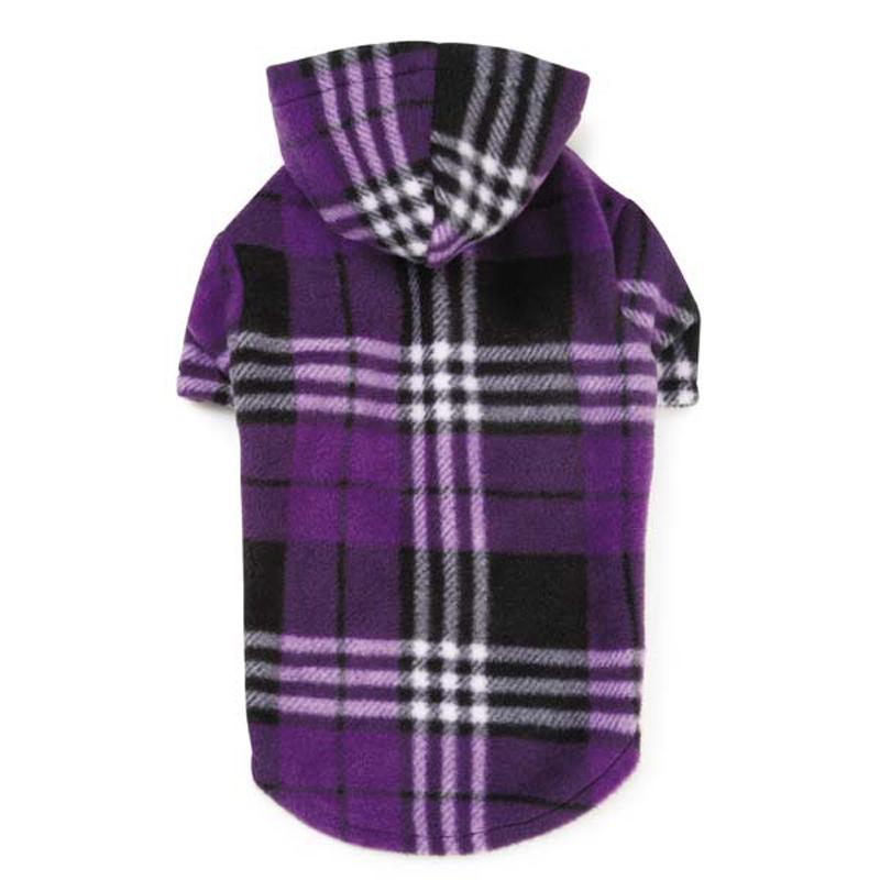 Everest Plaid Fleece Dog Hoodie - Purple