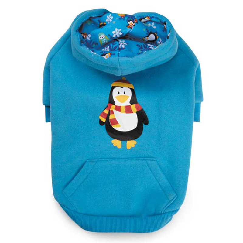 North Pole Pals Dog Hoodie - Blue Penguin