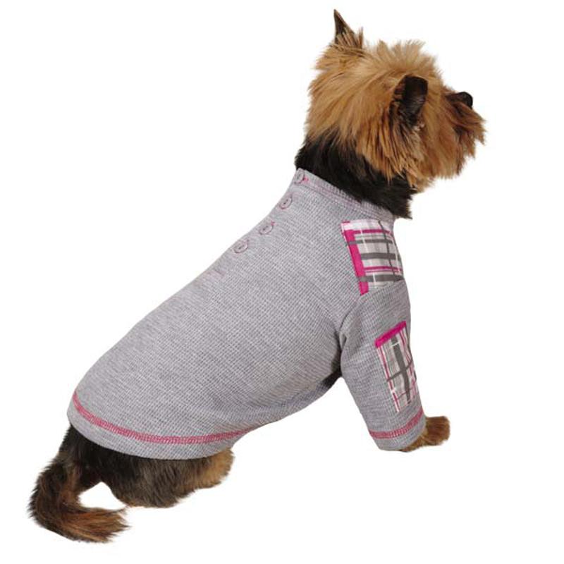 Rad Plaid Henley Dog Shirt - Charcoal