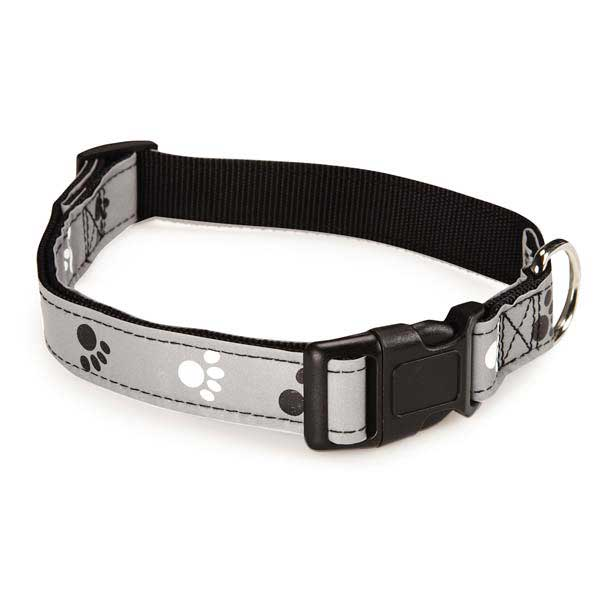 Casual Canine Reflective Pawprint Dog Collar - Gray