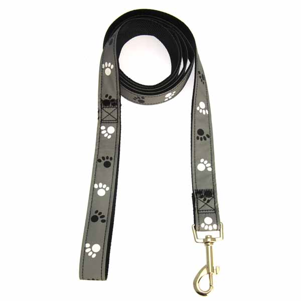 Casual Canine Reflective Pawprint Dog Leash - Gray