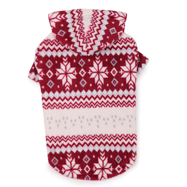 Snowdrift Cuddler Fleece Dog Hoodie - Red