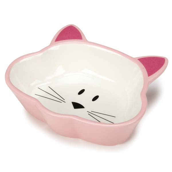 Cat is Good Ceramic Cat Dish - Pink