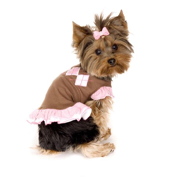 Chocolate Argyle Dog Dress