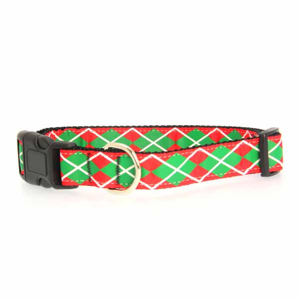 Christmas Argyle Nylon Dog Collar