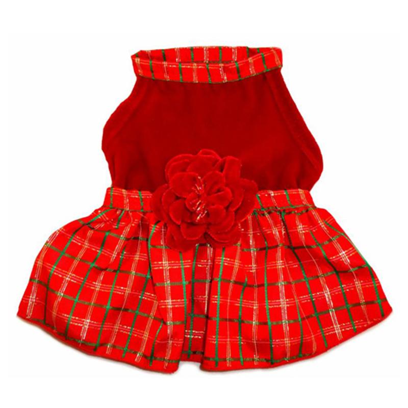 Christmas Plaid with Red Velvet Dog Dress