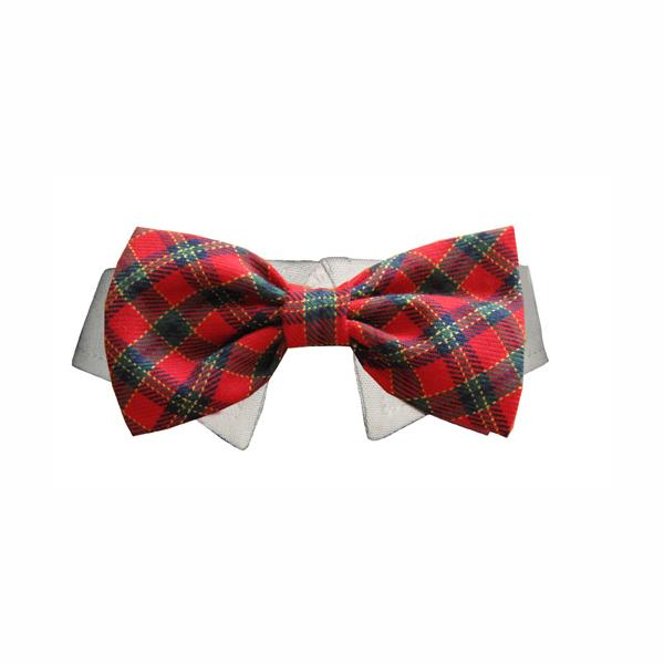 Christmas Tartan Dog Collar & Bow Tie