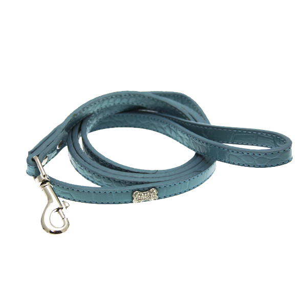 Crystal Bone Leather Dog Leash - Paradise Blue