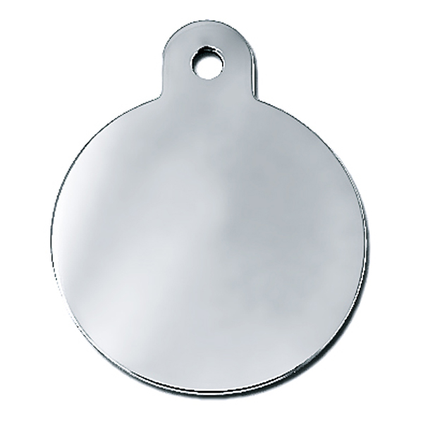 Circle Large Engravable Pet I.D. Tag - Chrome