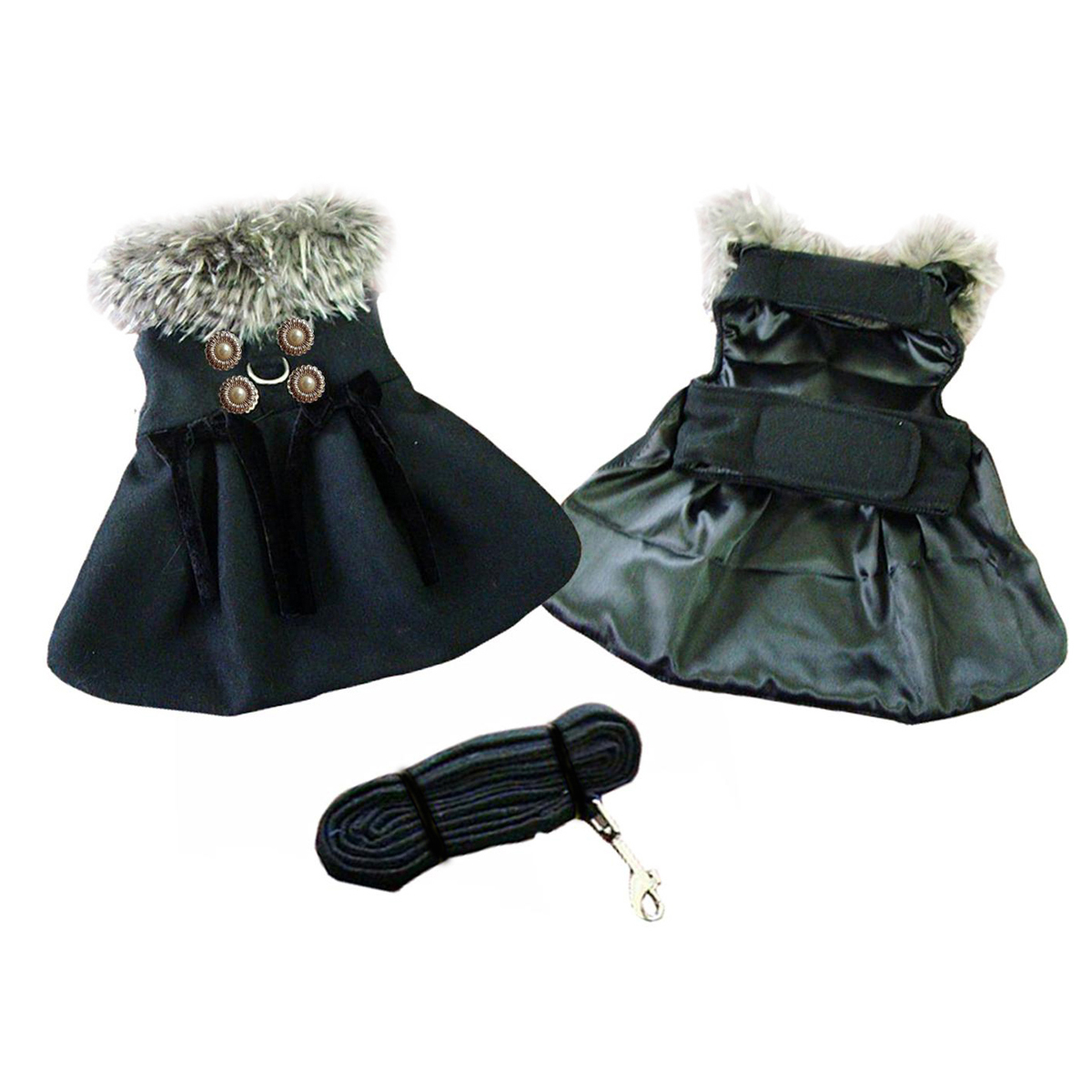 Classic Black Wool Dog Harness Coat by Doggie Design