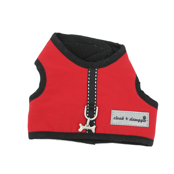 Cloak & Dawggie Harness Vest with Black Fleece Lining - Red