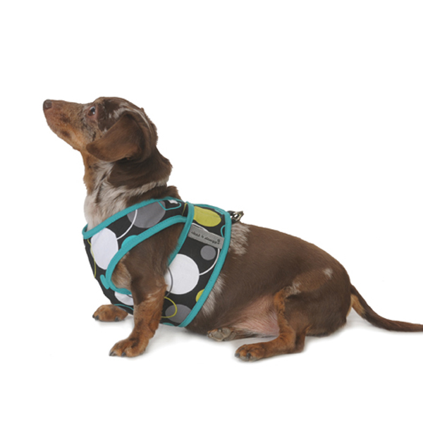 Cloak & Dawggie Step-N-Go Fleece Lined Harness - Mod Dot with Jade