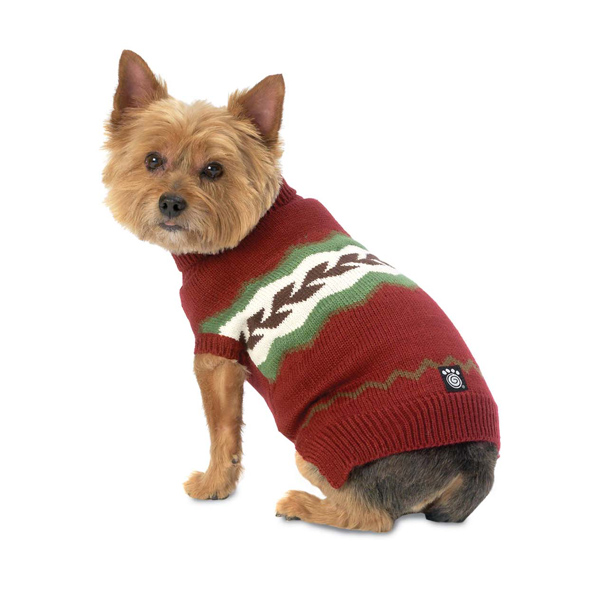 Colby's Winter Fair Isle Dog Sweater - Cranberry
