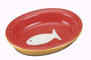 Color Block Cat Bowl - Red