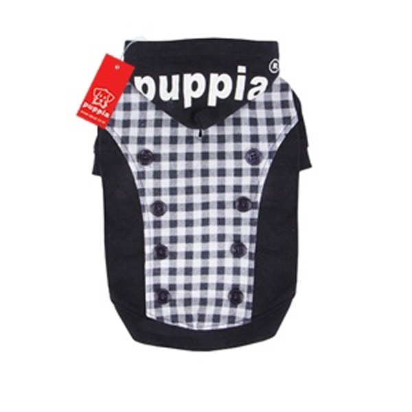 Combo Gingham and Button Dog Hoodie by Puppia - Navy