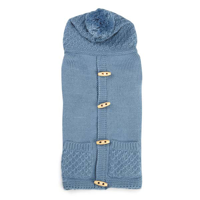 Cottage Hooded Dog Sweater Vest - Blue Heaven