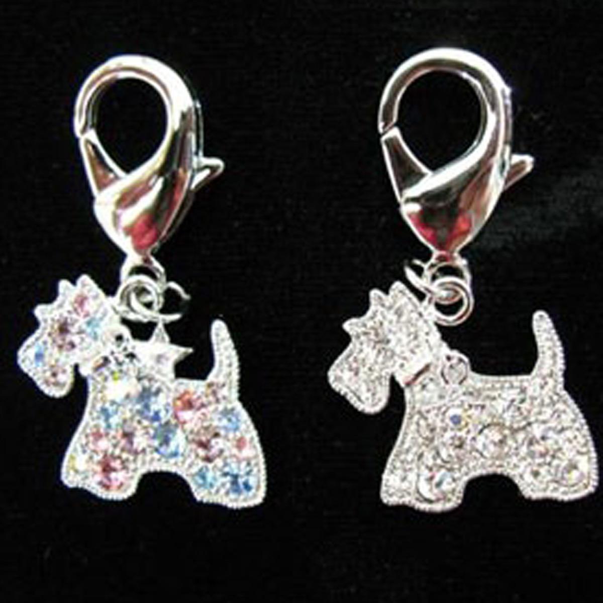 Crystal Scottie Dog Collar Charm