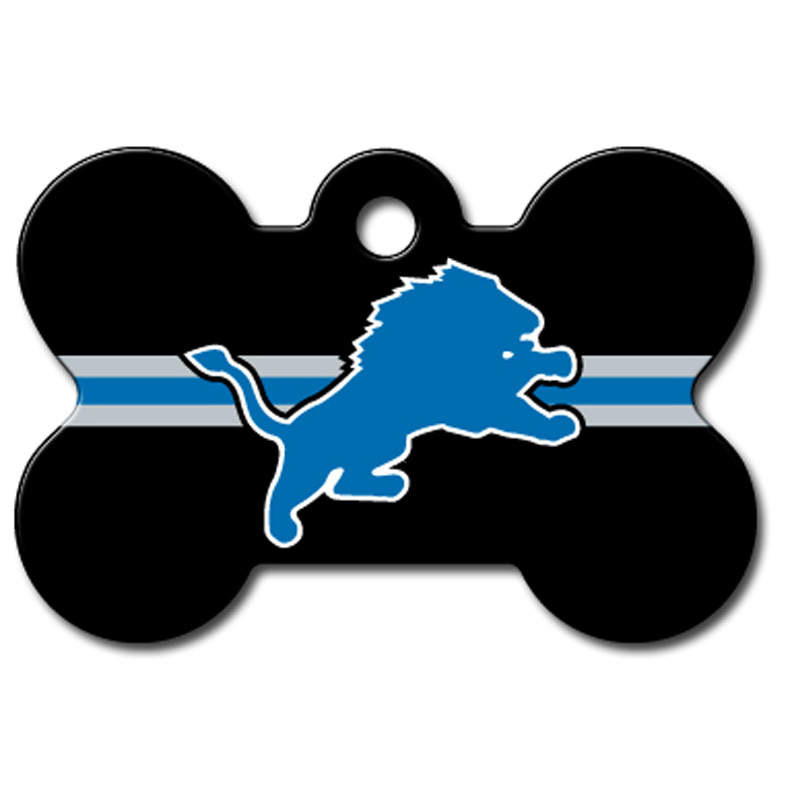 Detroit Lions Engravable Pet I.D. Tag - Bone