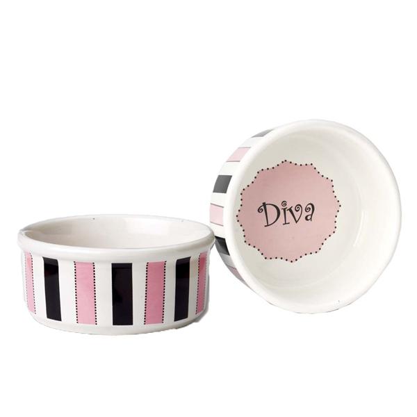 Diva Stripes Dog Bowl
