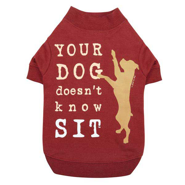 Dog is Good Doesn't Know Sit Dog T-Shirt - Red