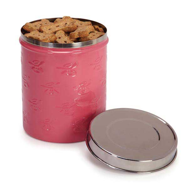 Dog is Good Embossed Stainless Steel Dog Treat Canister - Blush