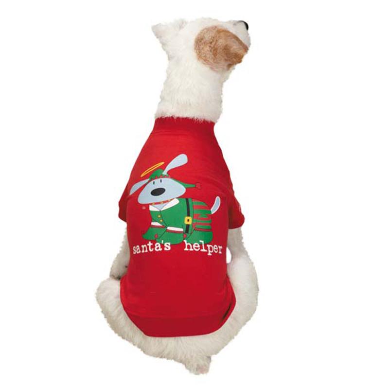 Dog Is Good Santa's Helper Dog T-Shirt - Red