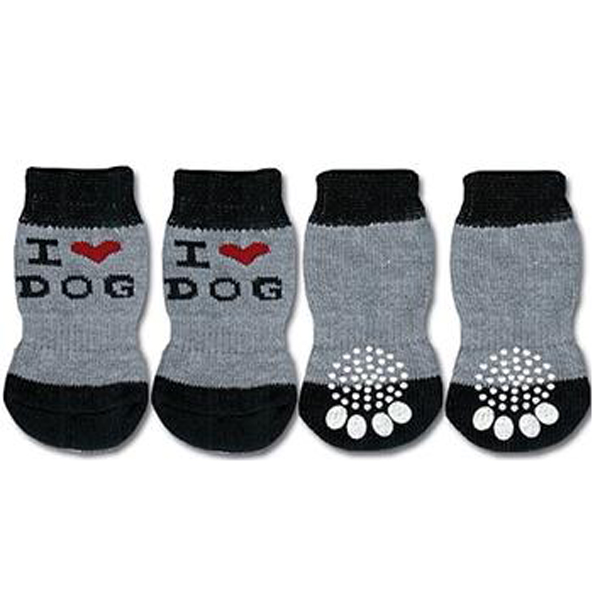 Doggy Socks - Grey & Black I Love Dog