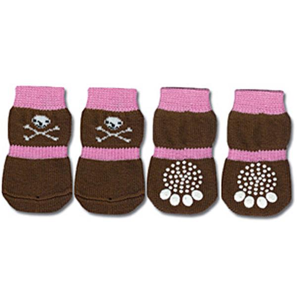 Doggy Socks - Pink & Brown Skull