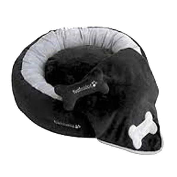 Donut 3-Piece Dog Bed Set - Black/Gray