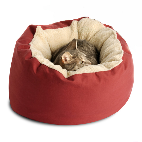Donut Sherpa Cat Bed by Dog Gone Smart - Red