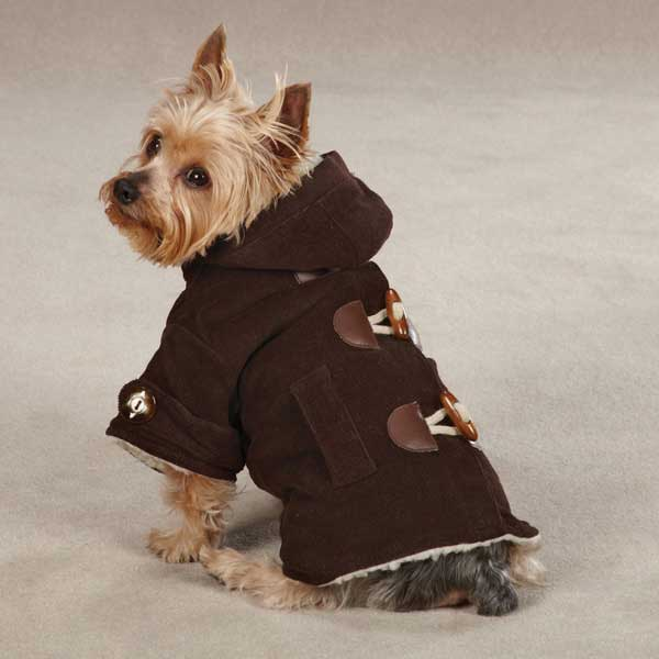 East Side Collection Corduroy Toggle Dog Coat - Chocolate