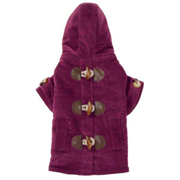 East Side Collection Corduroy Toggle Dog Coat - Deep Raspberry