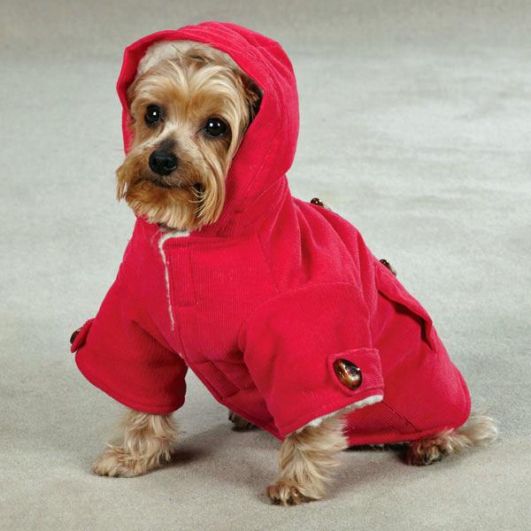 East Side Collection Corduroy Toggle Dog Coat - Raspberry