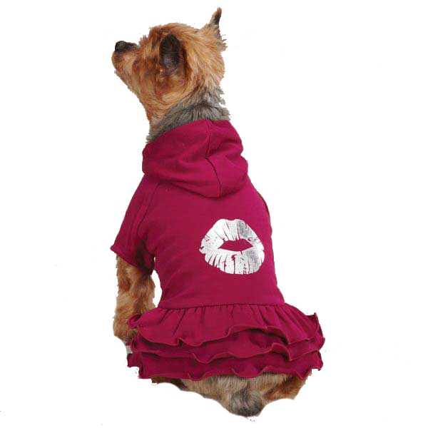 Rock Star Ruffle Hoodie Dog Dress - Kiss