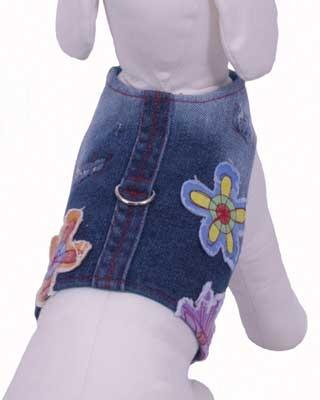 Euphoria Flower Denim Harness Vest w/ Leash - Blue