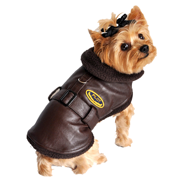 Faux Leather Brown Bomber Dog Coat - Brown Trim