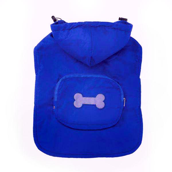 Fleece-Lined Stowaway Dog Rain Jacket - Blue