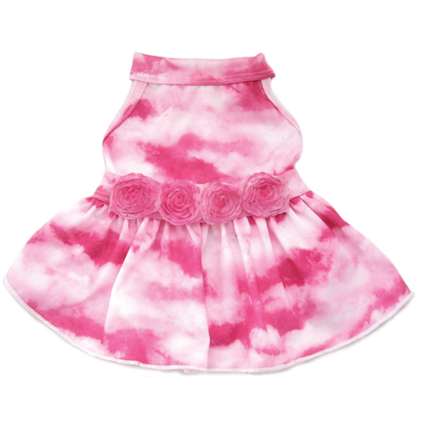 Flower Cloud Dog Dress -Pink