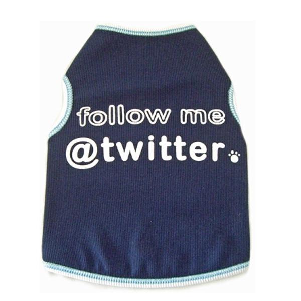 Follow Me @ Twitter Dog Tank Top - Navy
