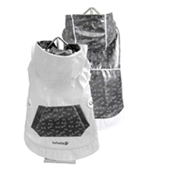 FouFou Reversible Dog Raincoat - Dark Silver/White