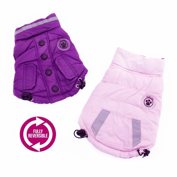 FouSki Reversible Dog Parka - Purple/Pink