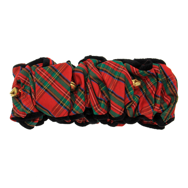 Fox & Hounds Tartan Velvet Trim Scrunchie with Jingle Bells - Red