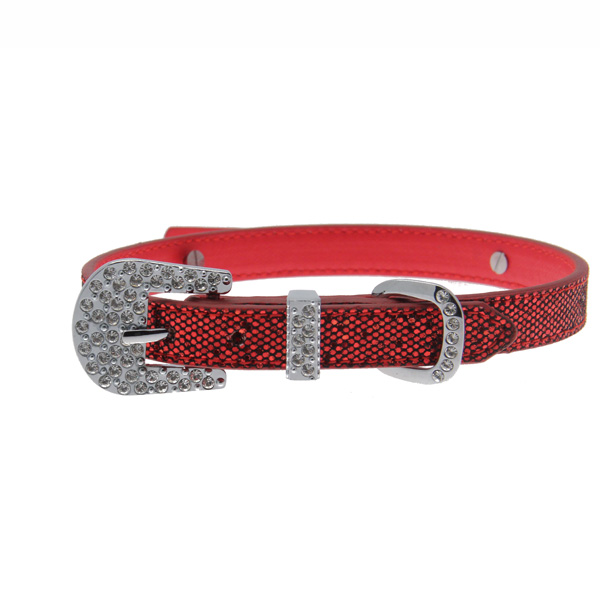 Foxy Glitz Dog Collar with Letter Strap - Red
