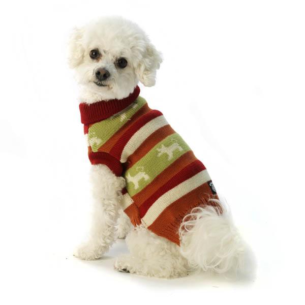 Fritzy's Fair Isle Dog Sweater - Orange Spice