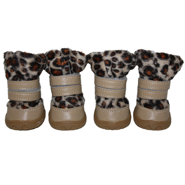 Fuzzy Leopard Dog Boots