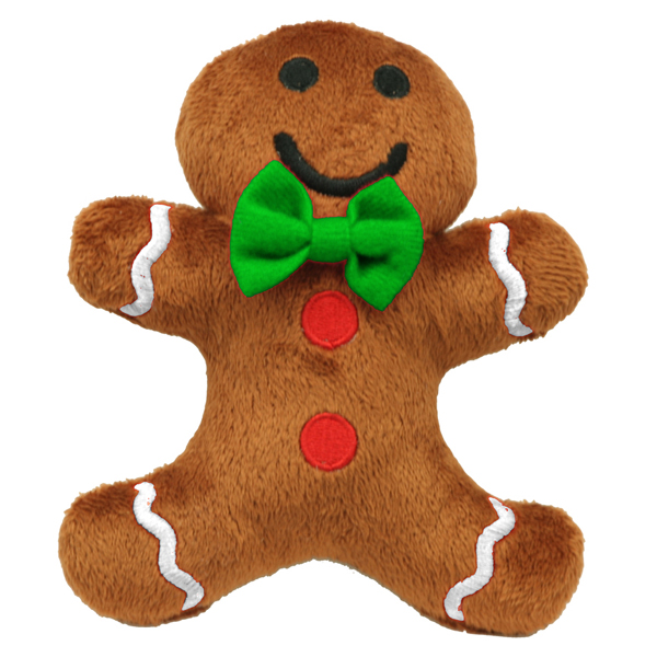 Gingerbread Man Plush Dog Toy by Hip Doggie