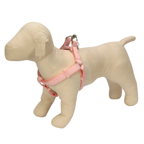 Gingham Ribbon Dog Harness - Pink