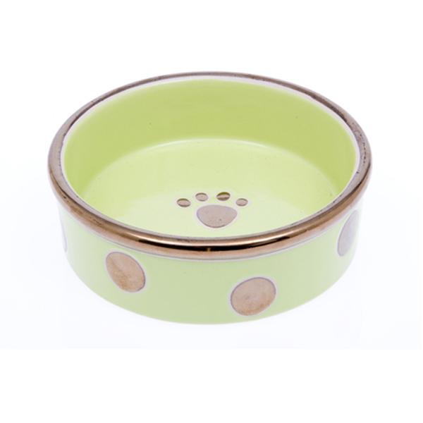 Glitzy Dots Dog Bowl - Kiwi
